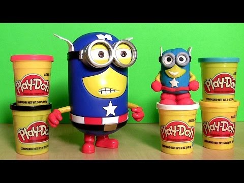 Minion Dave Captain America Action Figure Play Doh Marvel the Avengers Superhero from Despicable Me