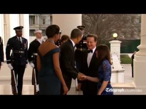 Barack and Michelle Obama host David and Samantha Cameron at White House state dinner