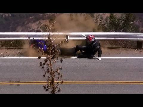 Motorcycle Crash - Yamaha R6 Lowsides into Guardrail on Mulholland Hwy
