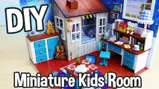 DIY Miniature Dollhouse Kit Cute Kids Bedroom Roombox with Working Lights! / Relaxing Crafts