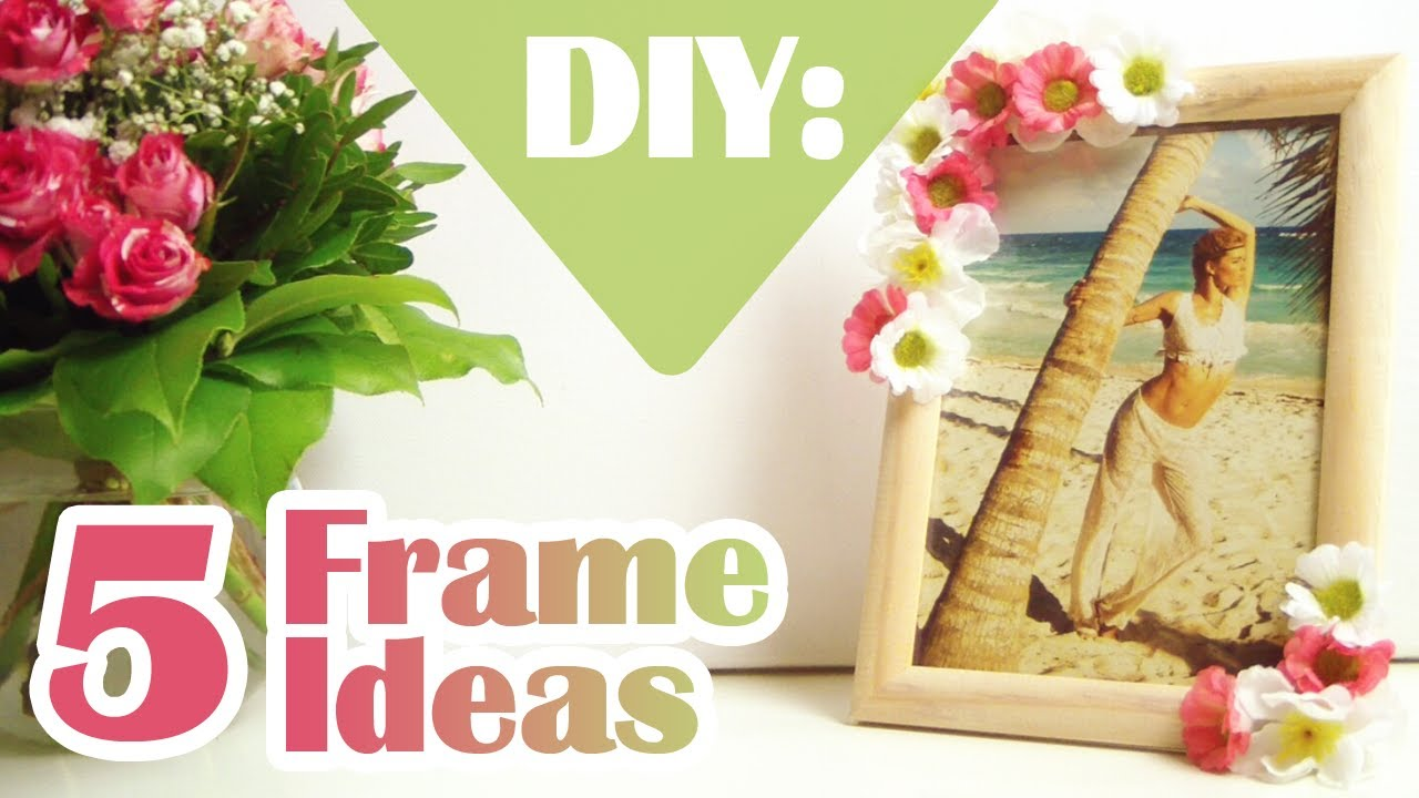 Diy 5 ways to decorate boring picture frames youtube for How to decorate