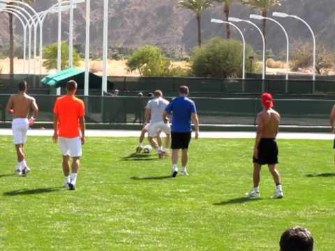Novak Djokovic plays football, gets the assist. IW2012