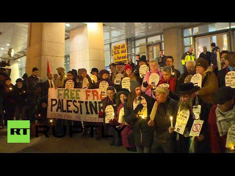 'Shame!' Anti-Netanyahu protesters rally outside AIPAC conference