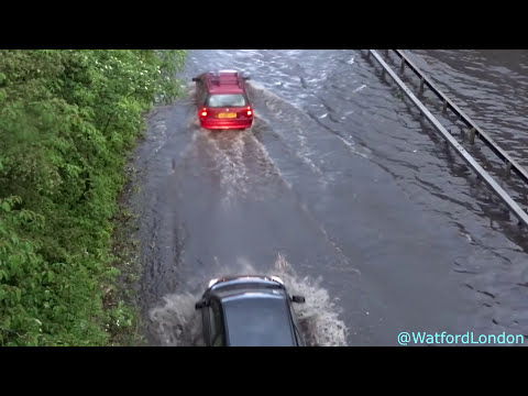Flash Floods as Torrential Rain Downpour North London Watford VIDEO HD