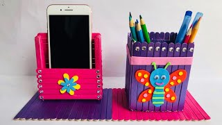 DIY Pen and Mobile Holder with Icecream Sticks | Home Crafts Ideas | #39 |