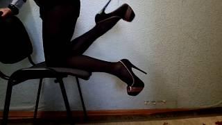 Wearing pantyhose and heels on my legs