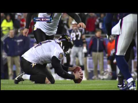 Billy Cundiff misses a game-tying 32 yard field goal cause the Ravens to lose and send the Patriots to the Super Bowl.