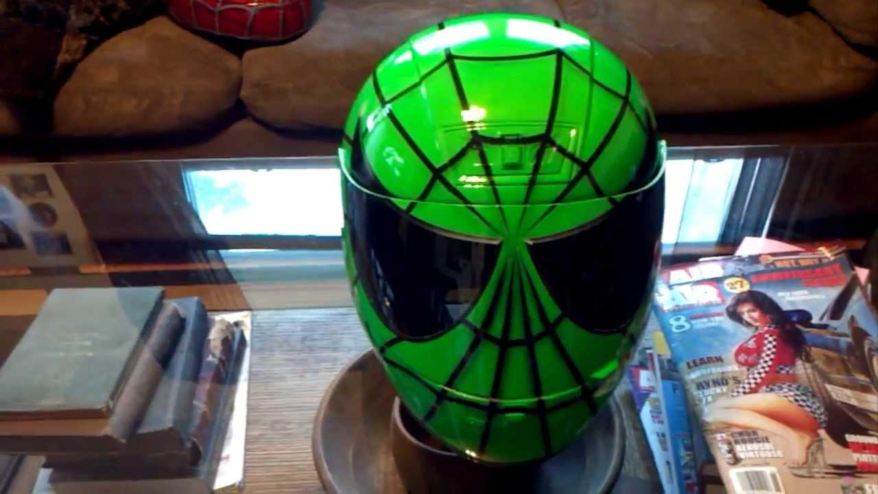 Custom Green Spiderman Helmet Airbrushed By Airgraffix Com