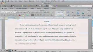 How to Report Statistics in APA Style using Word for Mac