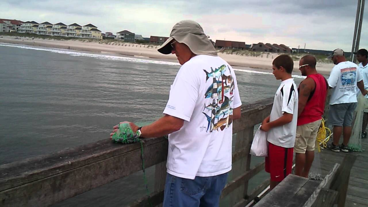 Catching menhaden bait fish off seaview fishing pier youtube for Seaview fishing pier