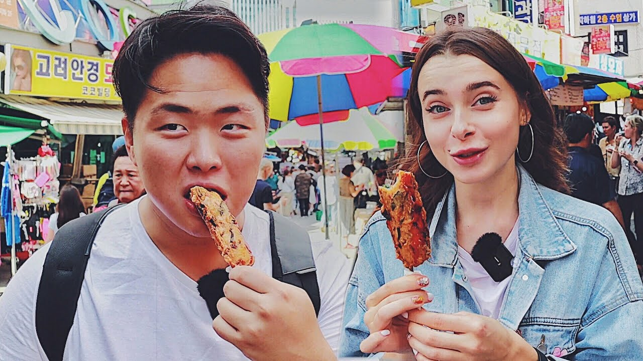 Корейский Рынок! Едим жуков? Уличная еда на рынке Намдэмун