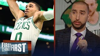 Nick and Cris react to the Celtics win against the 76ers in season debut   NBA   FIRST THINGS FIRST