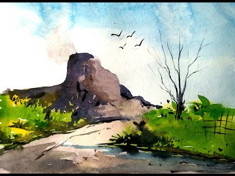 Watercolor painting   Watercolor tutorial of simple Mountain landscape step by step easy