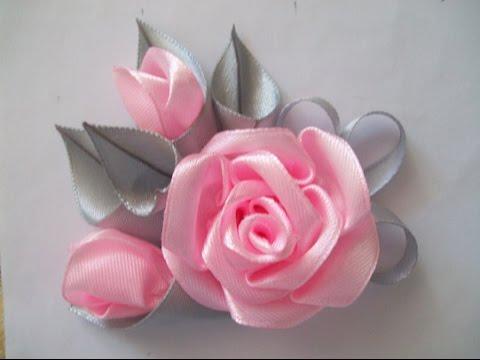 Атласные ленты цветы своими руками мастер класс