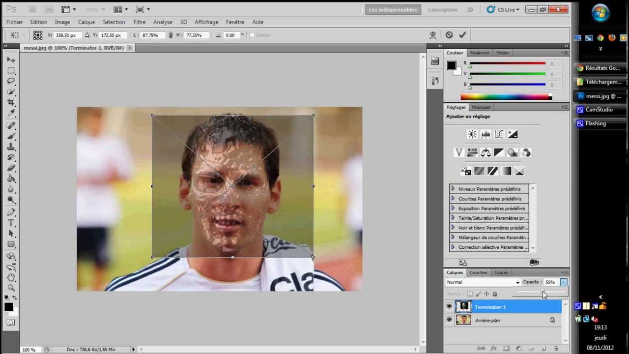 Tuto photoshop cs5 visage terminator youtube for Effet miroir photoshop cs5