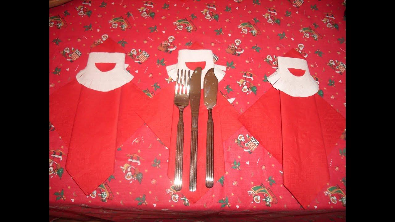 Como doblar servilleta papa noel o reyes para mesa - Doblar servilletas para navidad ...