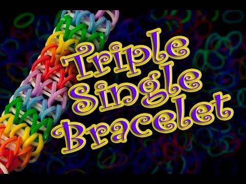 How to Make a Triple Single Rainbow Loom Bracelet HD