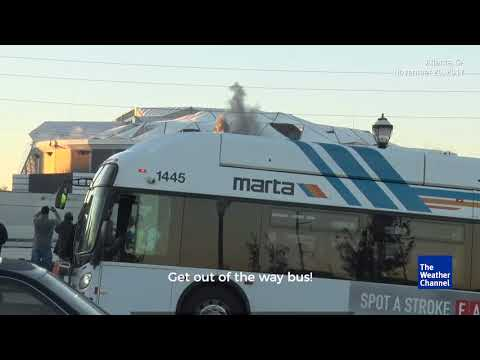 Bus Photobombs The Weather Channels Stream of Georgia Dome Implosion