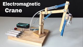 How to Make Hydraulic Powered Crane with Electromagnet at Home