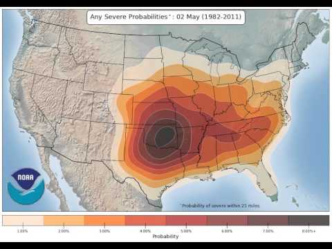 Severe weather probability in the US - NOAA Storm Prediction Center