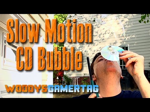 Cool CD Trick in Slow Motion (Blowing Bubble)