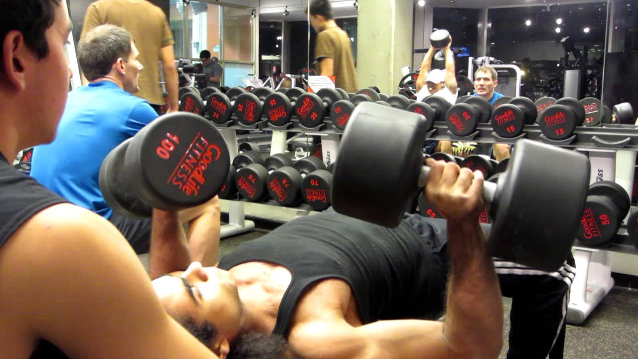 Akuma R C 100lb Dumbbell Bench Press 8 Reps Youtube