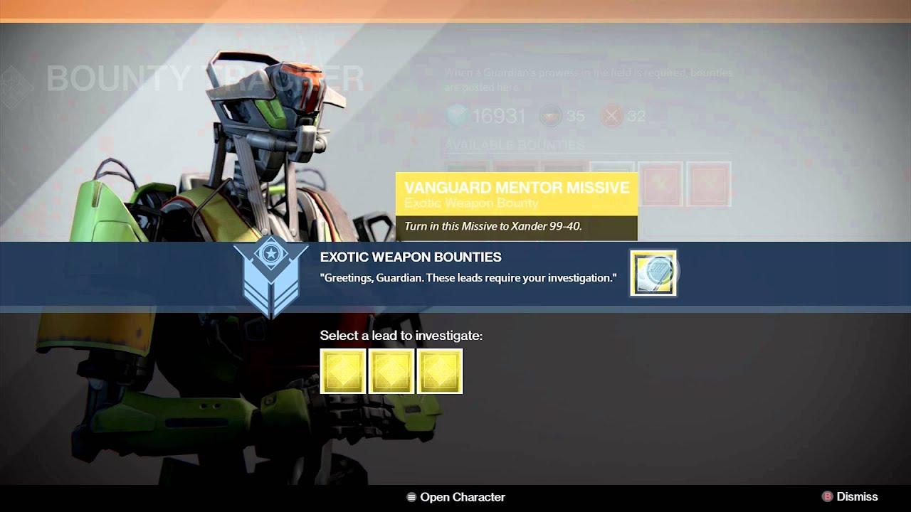 Destiny exotic weapon bounty youtube