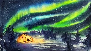 Simple Watercolor Aurora Starry Night Demonstration