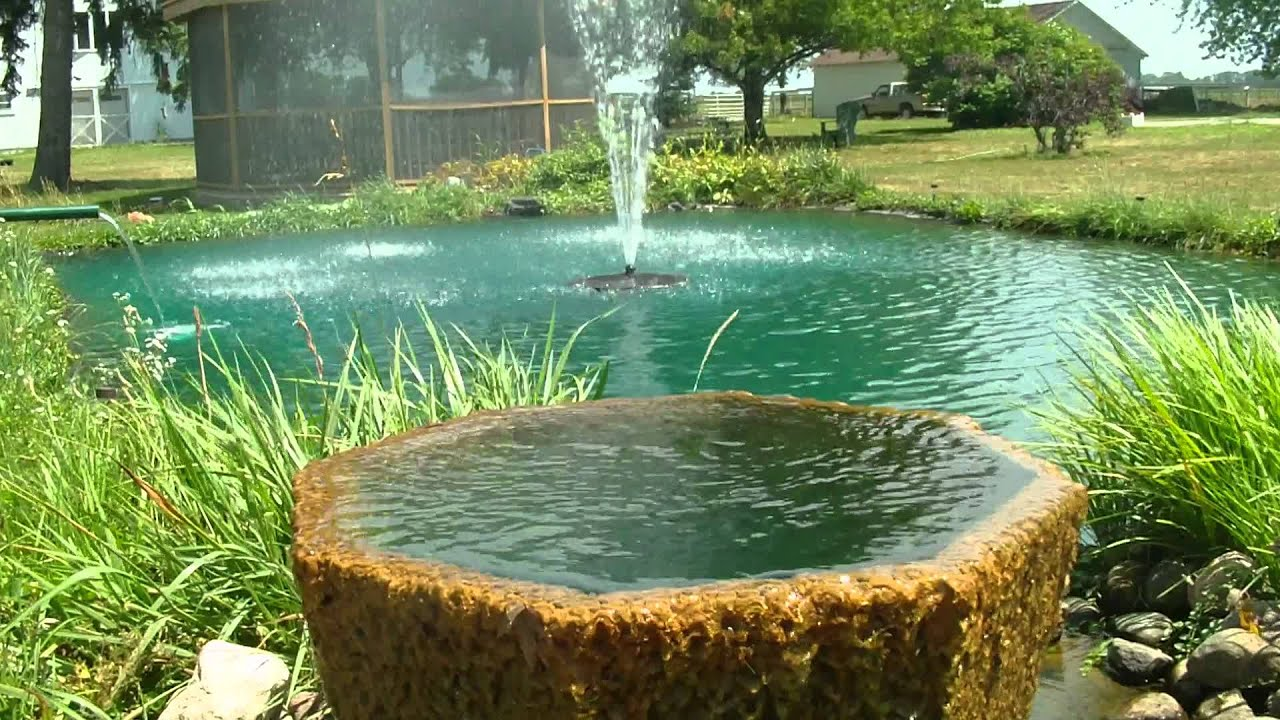 Pond fountain at rubsam farm youtube for Design of farm pond ppt