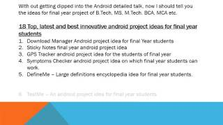 Android projects ideas for final year engineering students