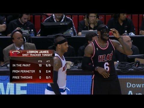 LeBron James vs Carmelo Anthony Full Highlights 2014.02.27 Knicks at Heat - 60 Pts