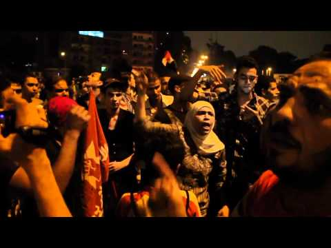 Woman leading chant at Israeli Embassy Protest in Cairo