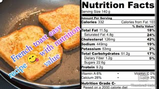 French toast simple,easy and quick recipe/restaurant style recipe with nutrition value