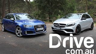 Audi RS3 Sportback v Mercedes-AMG A45 Road Comparison | Drive.com.au