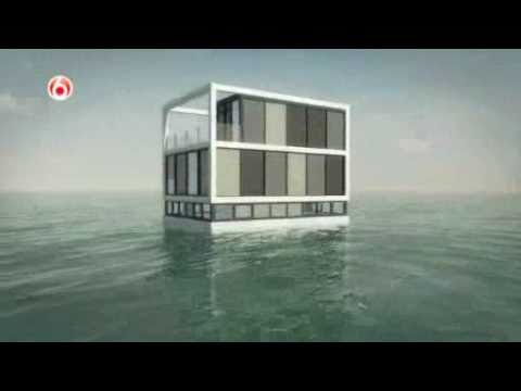 Building A Floating House Showing The Concept Of