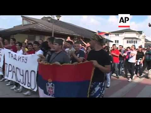 WRAP Bosnian Serbs protest Mladic's arrest by marching in Sarajevo ADDS Pale