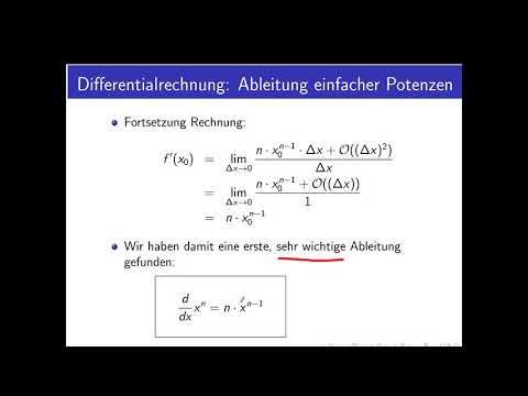 Differentialrechnung Teil 3: Ableitung einfacher Potenzen