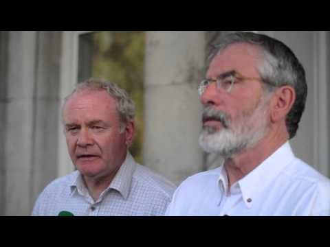 Gerry Adams and Martin McGuinness react to news of Ian Paisley's Death