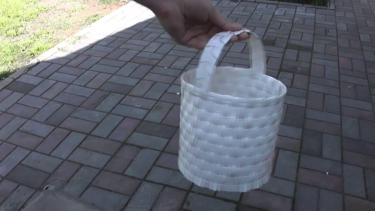 Корзинка из упаковочной ленты своими руками 54