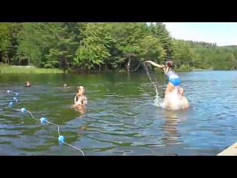 little girls swimming with friends then oops! bathing suit! thumbnail