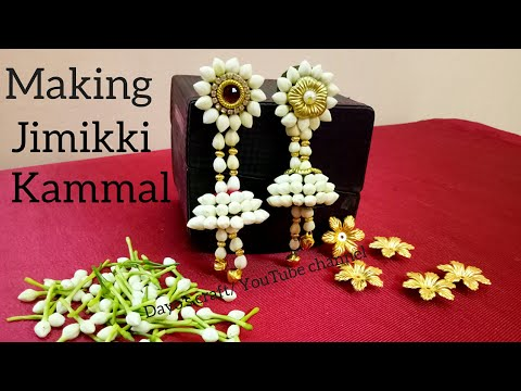 Making easy Flower Jumukkas| Flower Jewellery| step by step making Jimikki kammal