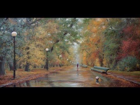 Осень в парке. Масляная живопись. Process of creating oil painting from Oleg Buiko.
