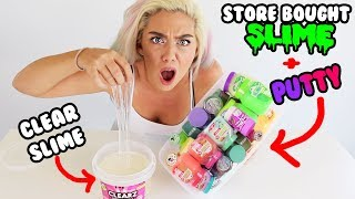 Mixing Store Bought Slime And Putty Into Clear Slime! Most Satisfying Slime Video Ever!