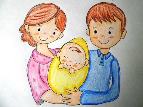 Mom Dad And Baby Drawing How to Draw my Dad Mom And me