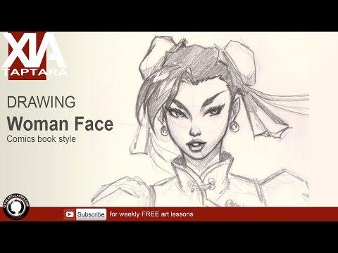 Drawing basic comics female face thumbnail