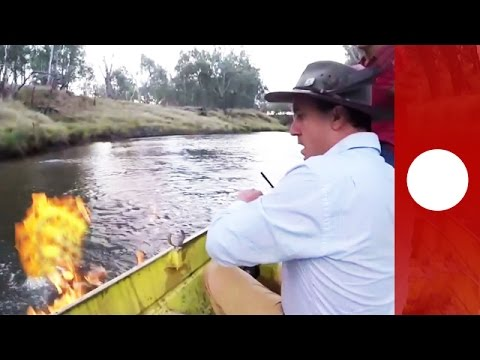 """""""A river on fire!"""" MP sets fire to methane gas on Condamine river, Australia"""