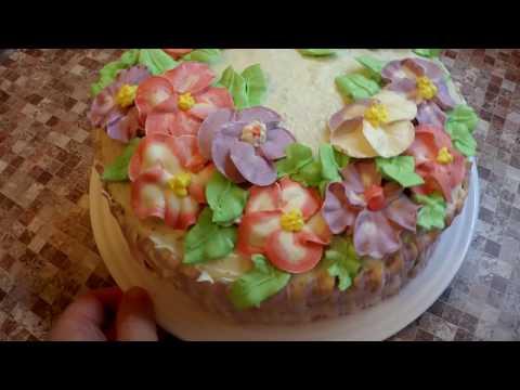 УКРАСИТЬ ТОРТ БЫСТРО. Самый простой и способ украшения торта (как украсить торт кремом Шарлотт).