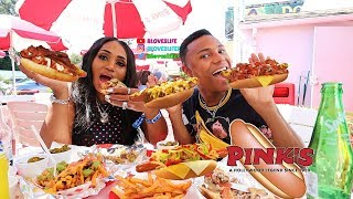 Pinks Hot Dogs with Darius (California Mukbang)