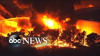 Fuel storage facility erupts in fiery explosion l ABC News