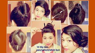 Top 10 stick bun hairstyles | bun with bun stick | pencil bun | Chinese bun